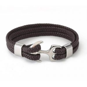 Mens Braided Leather Bracelet Anchor Clasp-07