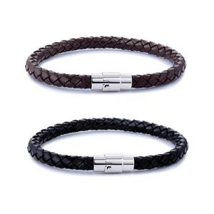 Stainless Steel Braided Leather Bracelet for Men Women
