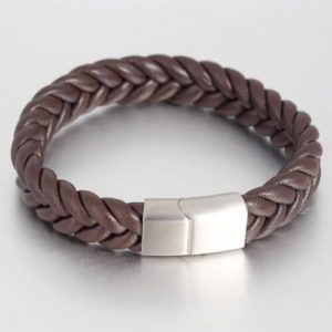 Cowhide Leather Braided Bangles Stainless Steel Clasp