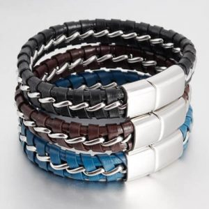Mens Stainless Steel Tread Braided Bracelet-13