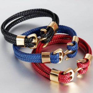 Womens Leather Bracelet Braided Anchor Wrap Bangle