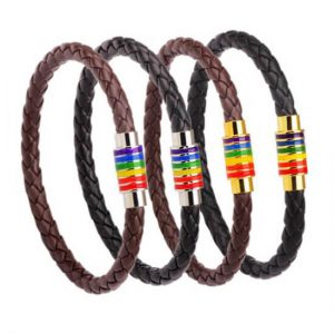 6MM Leather Bracelets for Men Women Braided Rope Bracelets Magnetic Clasp