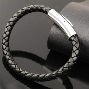Black Genuine Leather Bracelet Rope for Men WristBand