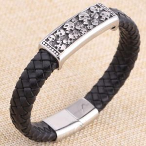 Cool Leather Detailed Skull Bracelet for Mens