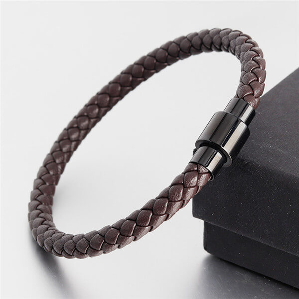 Men Women Premium Leather Titanium Steel Magnetic Braided Clasp Bracelet Jewelry