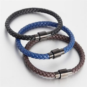 Leather Bracelet for Men Stainless Steel Magnetic Clasp-101
