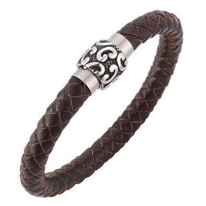 Cowhide Leather Brown Mens Bracelet Jewellery