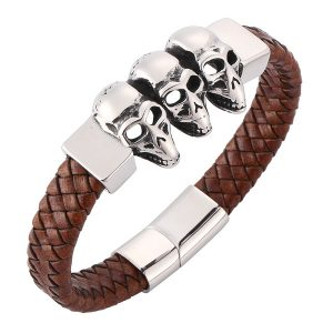 skull head brown bracelets silver magnetic closure
