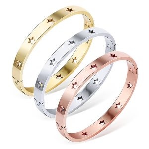 Stanless steel bangle with cut out stars