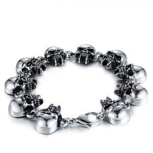 Mens titanium steel chain bracelet skull