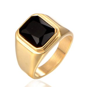 Stainless Steel Gemstone Wedding Statement Party Ring