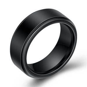 Black Tungsten Carbide Ring for Men Brush Bevel Edge