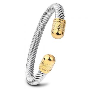 Elastic Adjustable Stainless Steel Twisted Cable Cuff Bangle Bracelet for Mens Womens