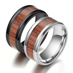 Men's Stainless Steel Ring Wood Inlay
