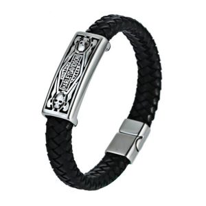 Men's Masculine Designer Kull Leather Bracelet Jewelry