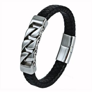 Retro NK Braided Leather Bracelet Wristband