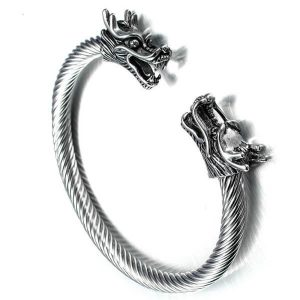 Dragon Head Bracelet Bangle Titanium Steel