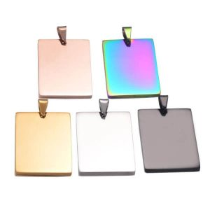 Stainless Steel Polished ID Tag Rectangle Shape