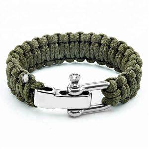 Paracord Survival Bracelet Stainless Steel D Shackle