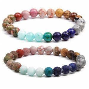8MM seven chakra bracelet Hollywood beaded Bohemian bracelet
