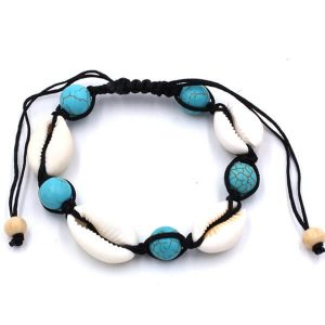 Pine stone bead friendship shell bracelet