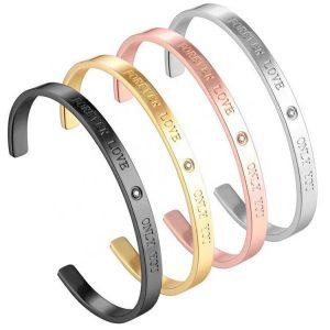 Engraved Stainless Steel Cuff Bracelet Custom Made Bracelet Women