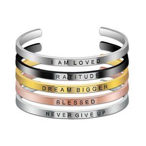 Engraved Custom Name Cuff Inspirational Bracelet