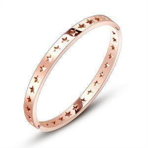 Stainless steel star bangle bracelet