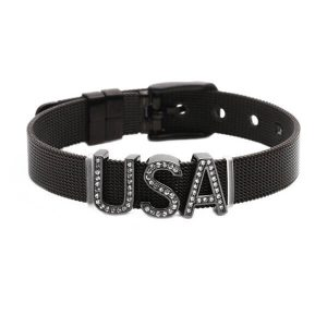 USA charms mesh band bracelet