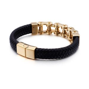 Gold Stainless Steel Bracelet Men Leather Bangle