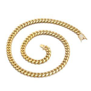 Hip Hop Cuban Chain Necklace Rhinestone Clasp