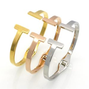 Simple Double T Spring Bangle Bracelet