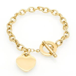 Heart bracelet with bar and toggle closure